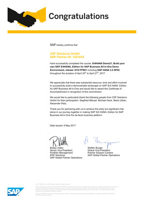SAP hereby confirms that CSF Solutions GmbH